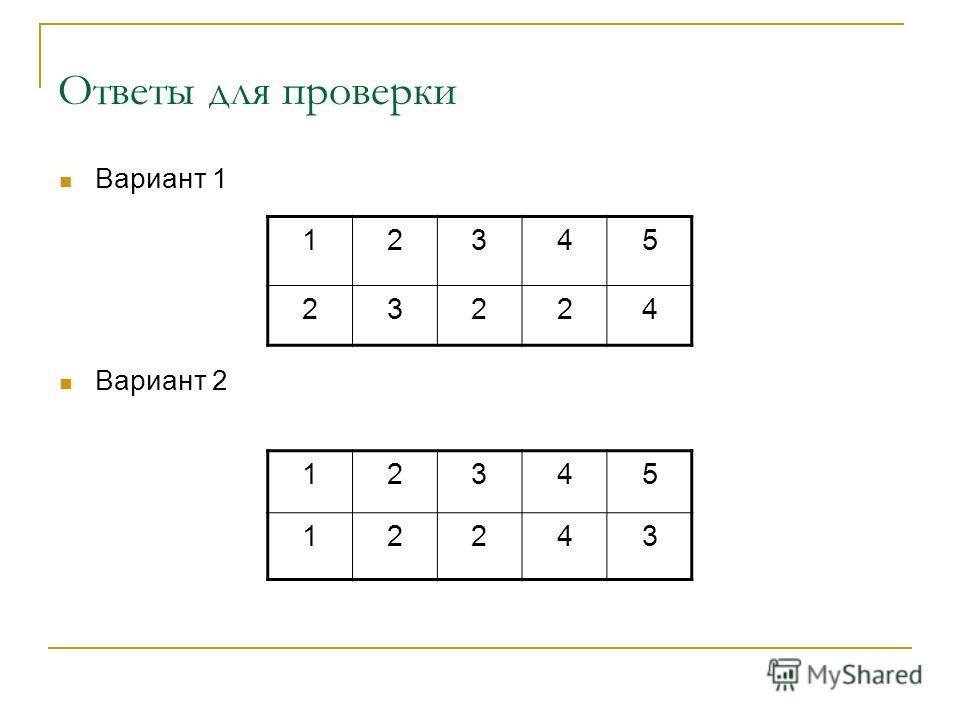 Ответы для проверки 12345 23224 Вариант 1 Вариант 2 12345 12243