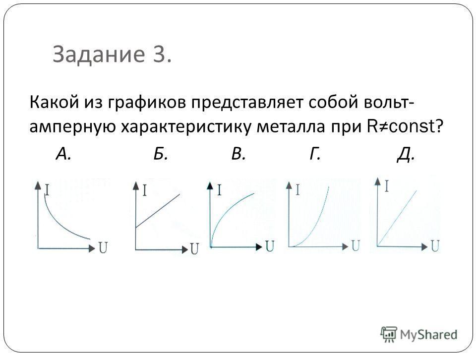 Задание 3. Какой из графиков представляет собой вольт - амперную характеристику металла при Rconst? А. Б. В. Г. Д.