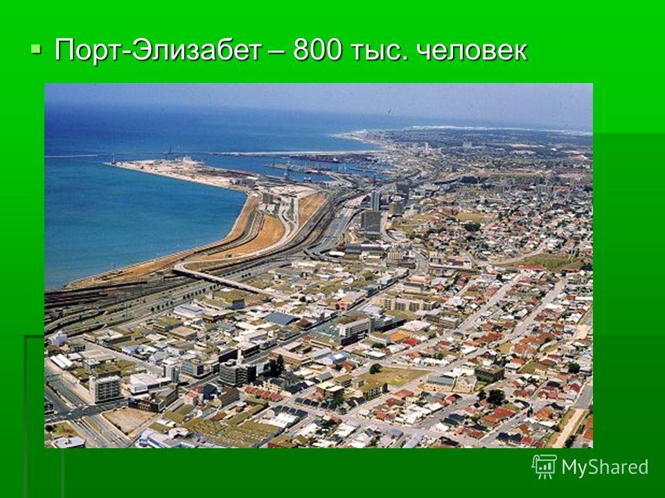 Порт-Элизабет – 800 тыс. человек Порт-Элизабет – 800 тыс. человек