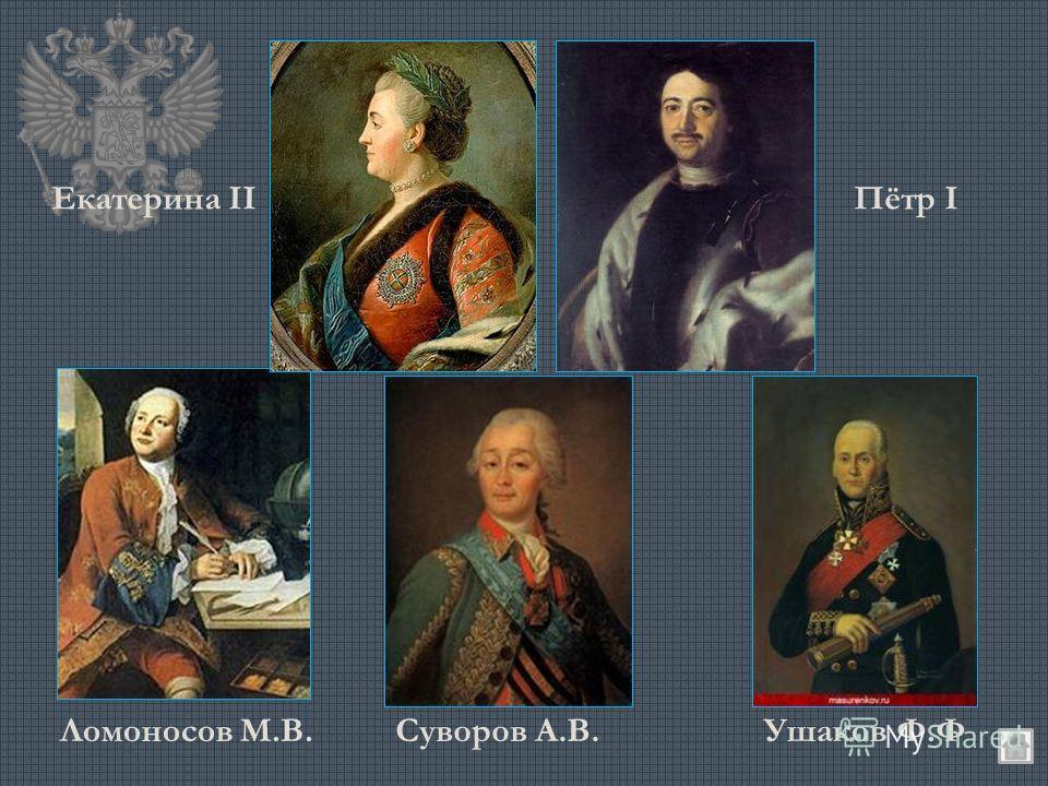 Екатерина IIПётр I Ломоносов М.В.Суворов А.В.Ушаков Ф.Ф