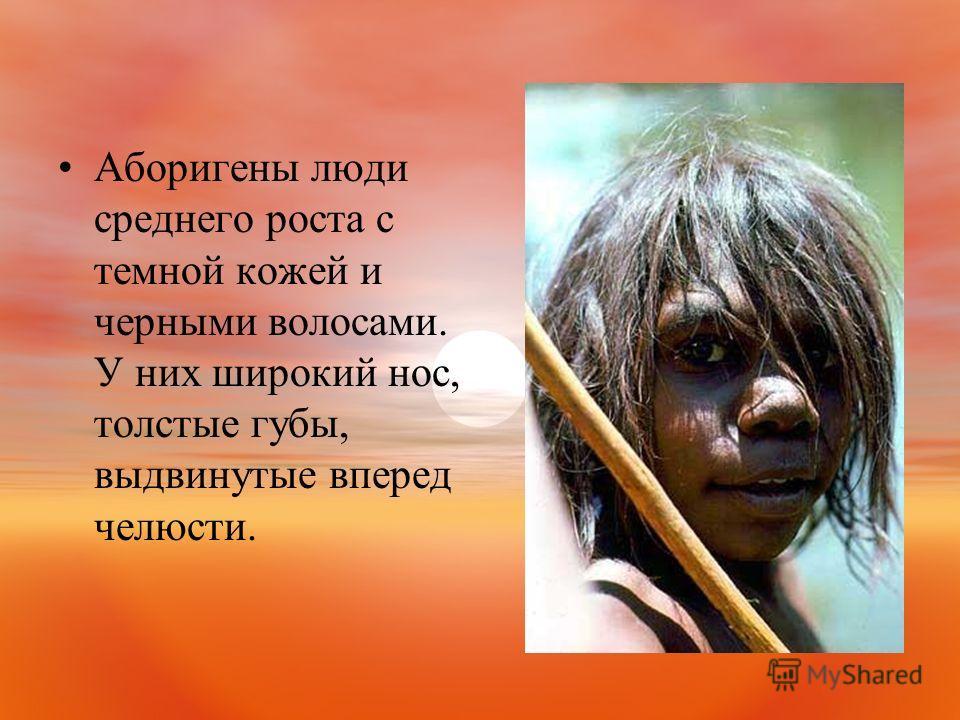 Аборигены люди среднего роста с темной кожей и черными волосами. У них широкий нос, толстые губы, выдвинутые вперед челюсти.