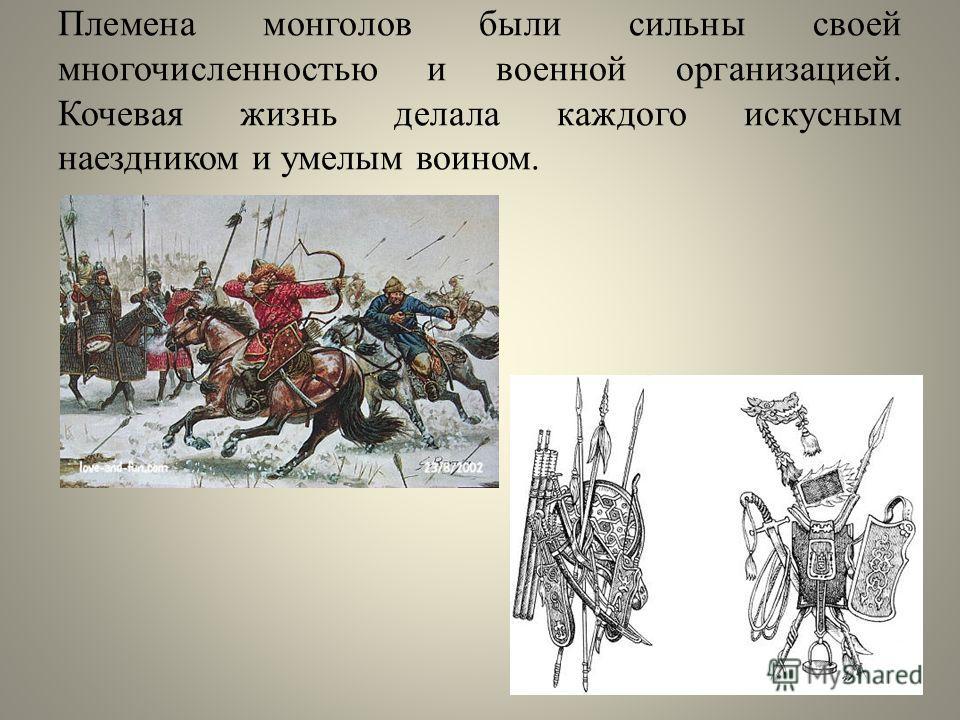 Племена монголов были сильны своей многочисленностью и военной организацией. Кочевая жизнь делала каждого искусным наездником и умелым воином.