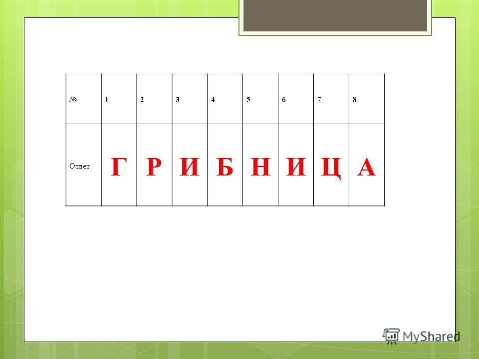 12345678 Ответ ГРИБНИЦА