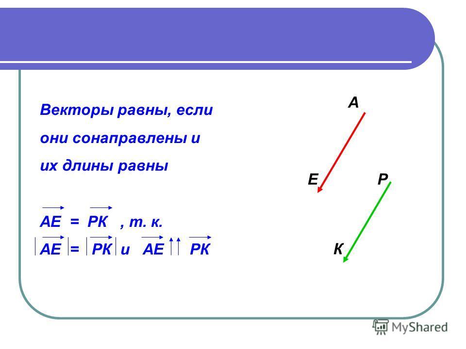 Векторы равны, если они сонаправлены и их длины равны АЕ = РК, т. к. АЕ = РК и АЕ РК А ЕР К
