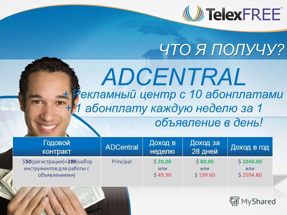 ЧТО Я ПОЛУЧУ? ADCENTRAL + Рекламный центр с 10 абонплатами + 1 абонплату каждую неделю за 1 объявление в день!