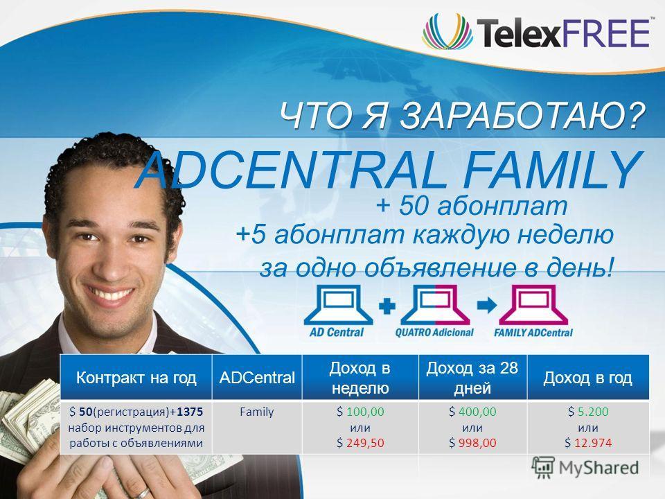 ЧТО Я ЗАРАБОТАЮ? ADCENTRAL FAMILY + 50 абонплат +5 абонплат каждую неделю за одно объявление в день!
