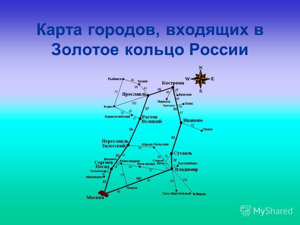 Карта городов, входящих в Золотое кольцо России