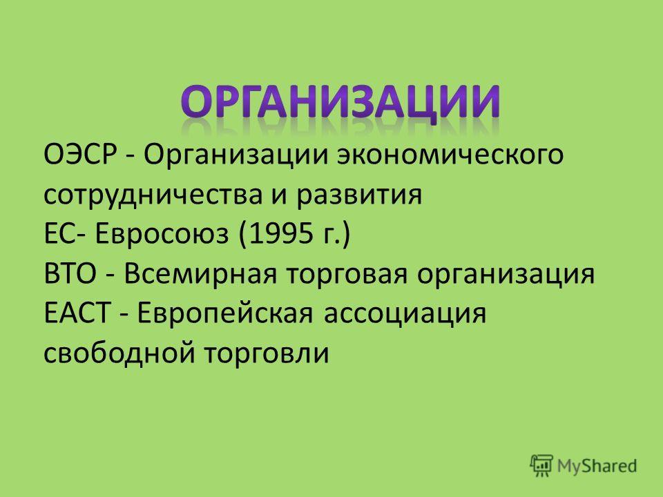 ОЭСР - Организации экономического сотрудничества и развития ЕС- Евросоюз (1995 г.) ВТО - Всемирная торговая организация ЕАСТ - Европейская ассоциация свободной торговли
