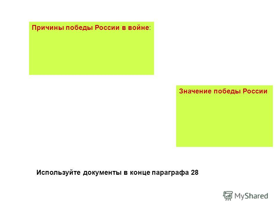 Причины победы России в войне: Значение победы России Используйте документы в конце параграфа 28