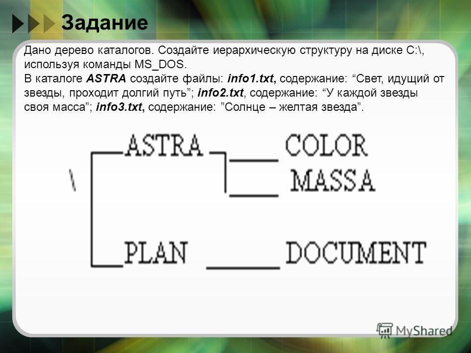 Задание Дано дерево каталогов. Создайте иерархическую структуру на диске С:\, используя команды MS_DOS. В каталоге ASTRA создайте файлы: info1.txt, содержание: Свет, идущий от звезды, проходит долгий путь; info2.txt, содержание: У каждой звезды своя