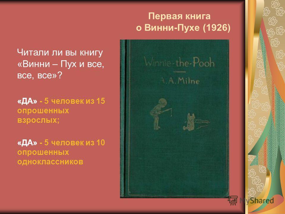 Первая книга о Винни-Пухе (1926) Читали ли вы книгу «Винни – Пух и все, все, все»? «ДА» - 5 человек из 15 опрошенных взрослых; «ДА» - 5 человек из 10 опрошенных одноклассников