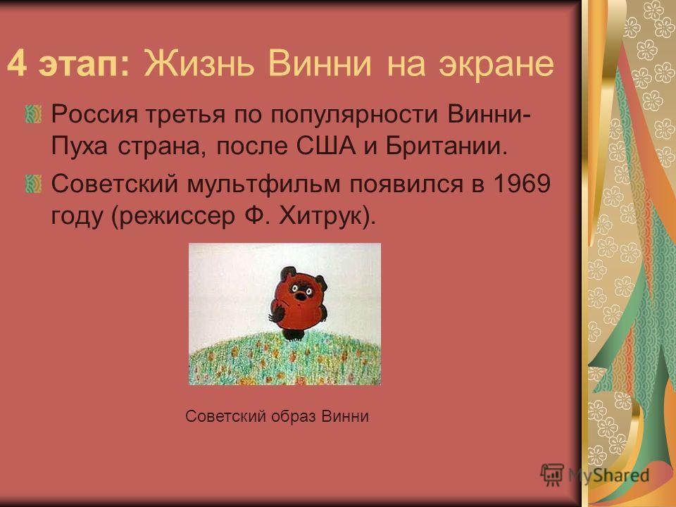 4 этап: Жизнь Винни на экране Россия третья по популярности Винни- Пуха страна, после США и Британии. Советский мультфильм появился в 1969 году (режиссер Ф. Хитрук). Советский образ Винни