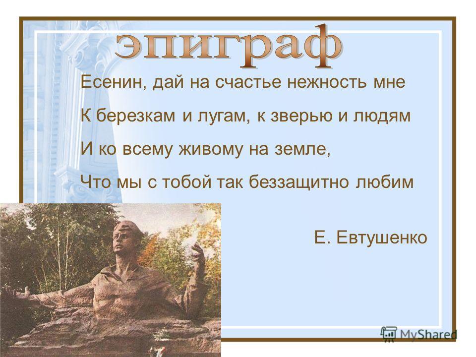 Есенин, дай на счастье нежность мне К березкам и лугам, к зверью и людям И ко всему живому на земле, Что мы с тобой так беззащитно любим Е. Евтушенко