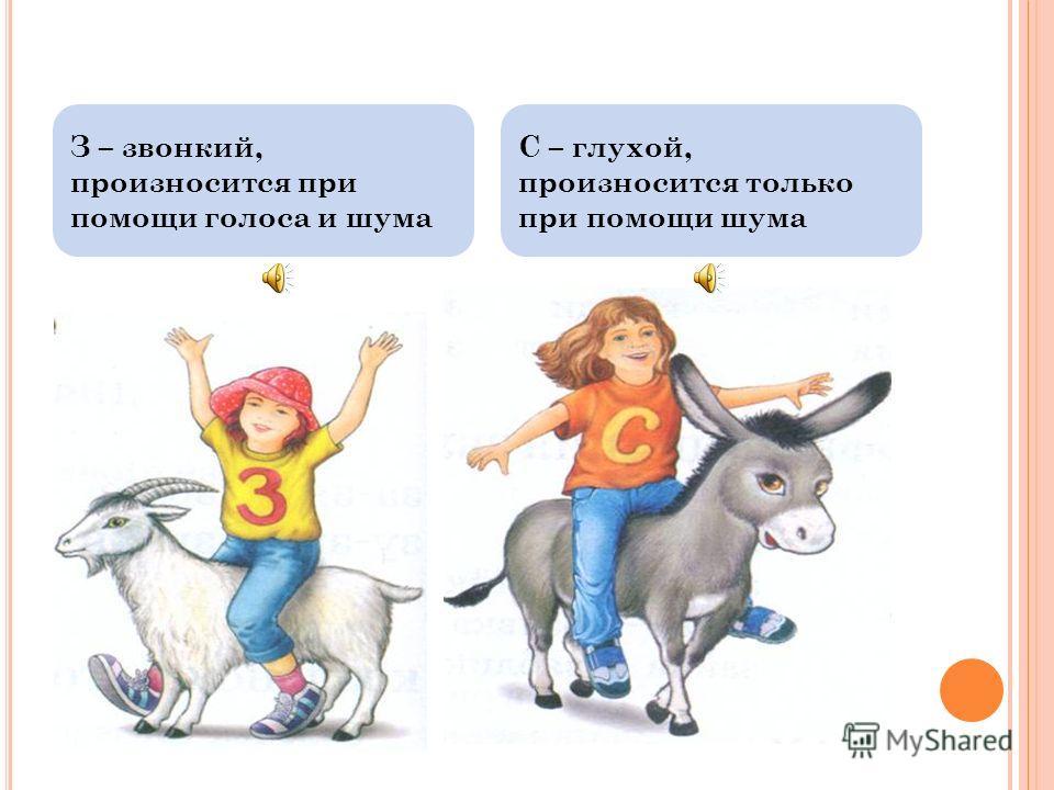 З – звонкий, произносится при помощи голоса и шума С – глухой, произносится только при помощи шума