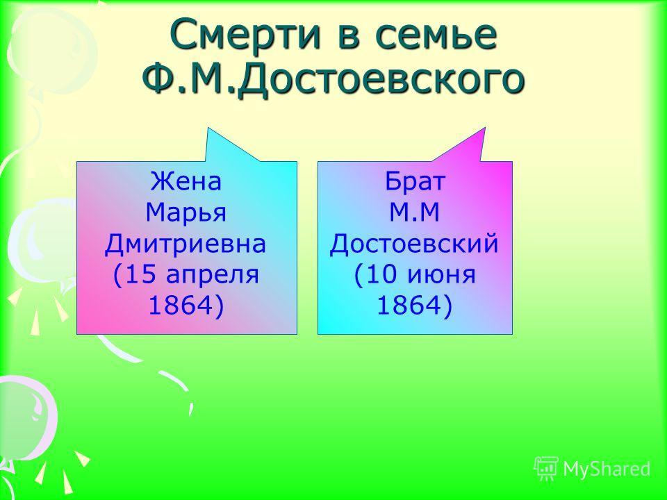 Смерти в семье Ф.М.Достоевского Жена Марья Дмитриевна (15 апреля 1864) Брат М.М Достоевский (10 июня 1864)
