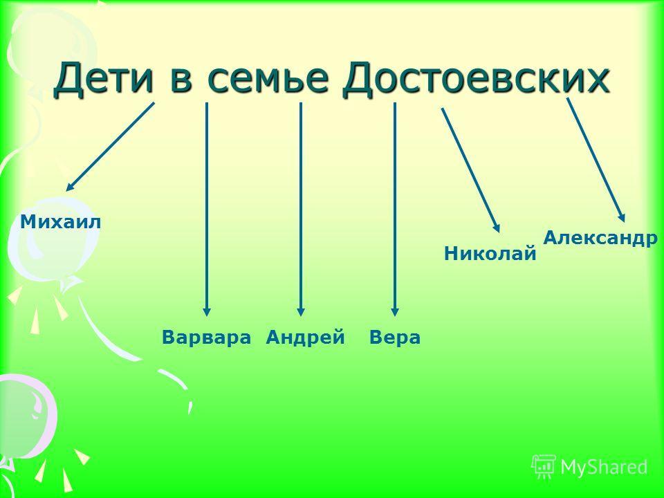 Дети в семье Достоевских Михаил ВарвараАндрейВера Николай Александр