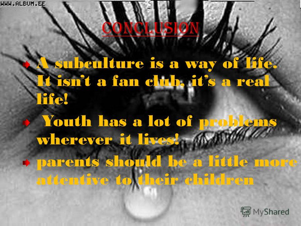A subculture is a way of life. It isnt a fan club, its a real life! Youth has a lot of problems wherever it lives! parents should be a little more attentive to their children