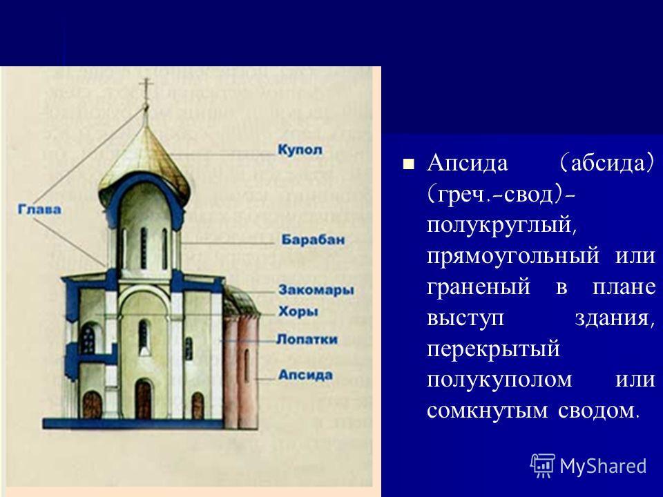 Апсида (абсида) (греч.-свод)- полукруглый, прямоугольный или граненый в плане выступ здания, перекрытый полукуполом или сомкнутым сводом.