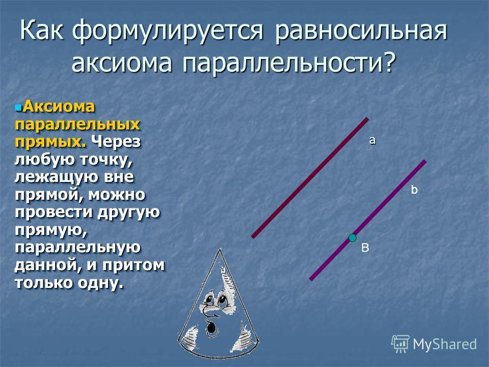 Как формулируется равносильная аксиома параллельности? Аксиома параллельных прямых. Через любую точку, лежащую вне прямой, можно провести другую прямую, параллельную данной, и притом только одну. Аксиома параллельных прямых. Через любую точку, лежащу