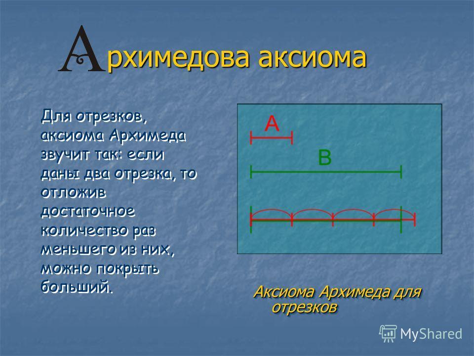 рхимедова аксиома Аксиома Архимеда для отрезков Аксиома Архимеда для отрезков Для отрезков, аксиома Архимеда звучит так: если даны два отрезка, то отложив достаточное количество раз меньшего из них, можно покрыть больший.