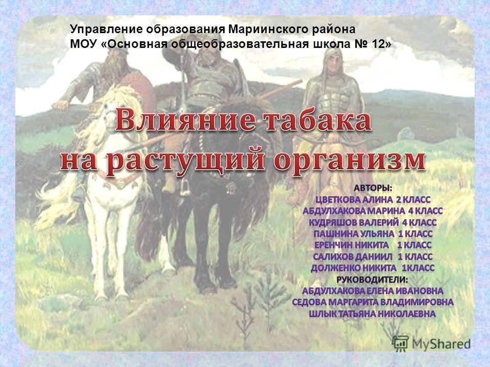 Управление образования Мариинского района МОУ «Основная общеобразовательная школа 12»