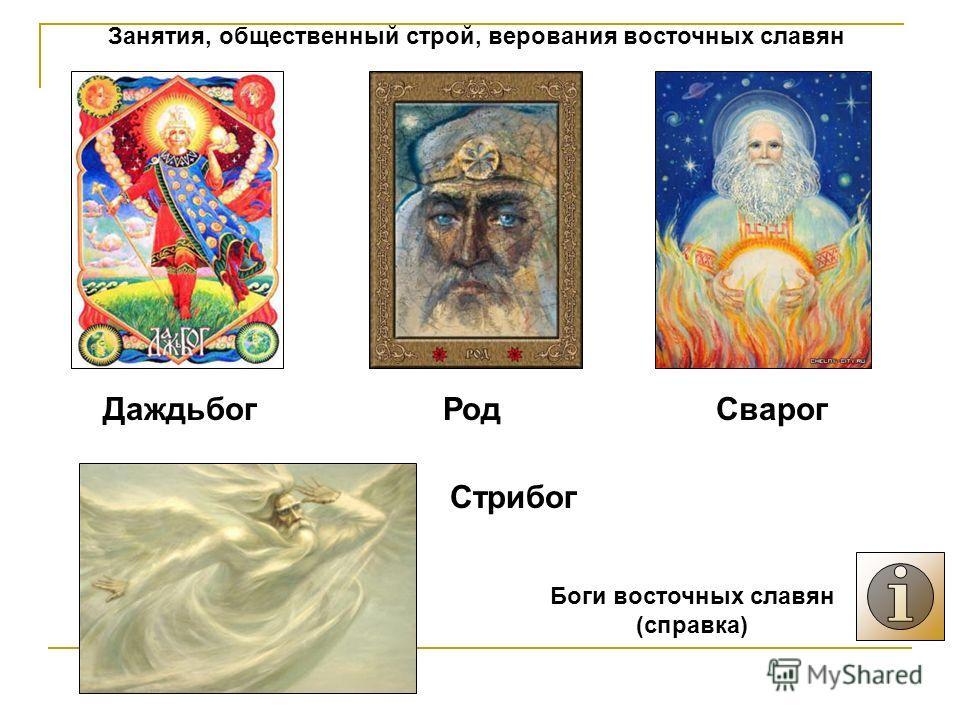 Занятия, общественный строй, верования восточных славян ДаждьбогРодСварог Стрибог Боги восточных славян (справка)