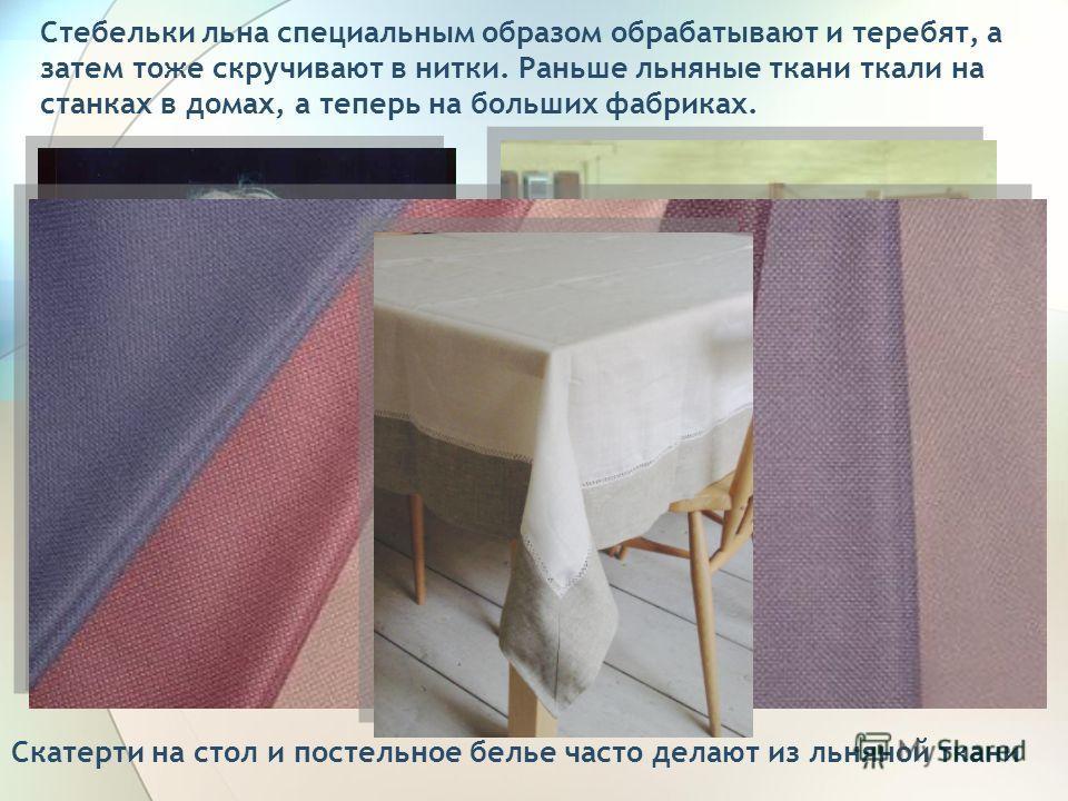 Стебельки льна специальным образом обрабатывают и теребят, а затем тоже скручивают в нитки. Раньше льняные ткани ткали на станках в домах, а теперь на больших фабриках. Скатерти на стол и постельное белье часто делают из льняной ткани
