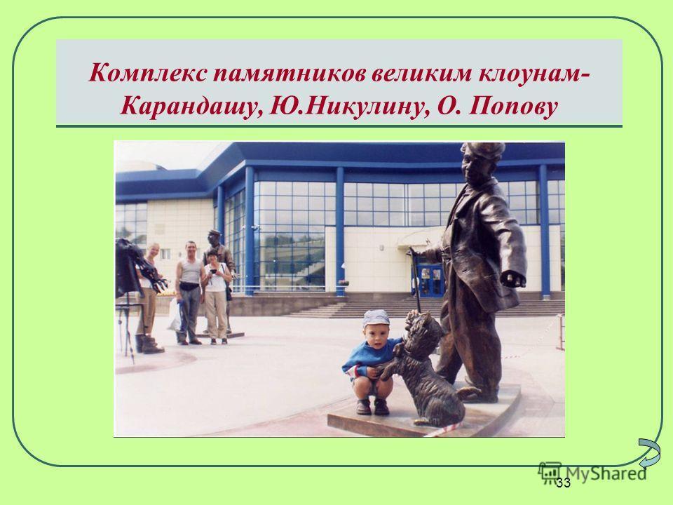 33 Комплекс памятников великим клоунам- Карандашу, Ю.Никулину, О. Попову