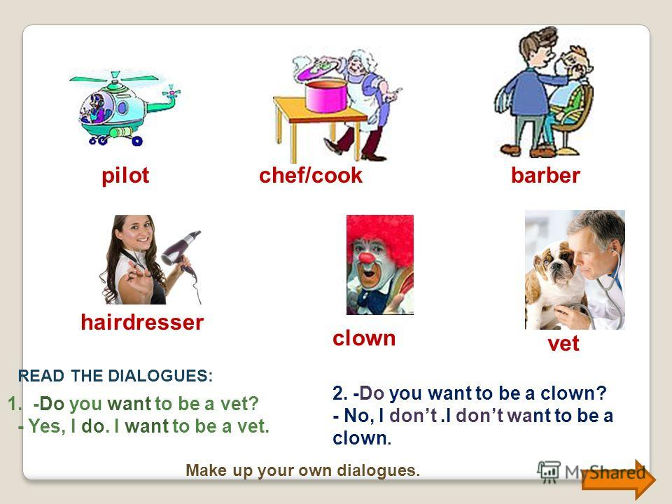 Do you want to be a …? babysitter teacher builder doctor driver saleswoman 1.-Is she a teacher? -Yes, she is. She is a teacher. 2.-Is he a clown? -No, he isnt. He isnt a clown.