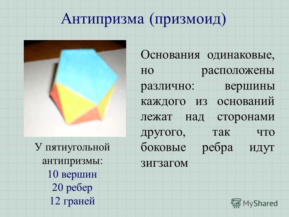 Антипризма (призмоид) Основания одинаковые, но расположены различно: вершины каждого из оснований лежат над сторонами другого, так что боковые ребра идут зигзагом У пятиугольной антипризмы: 10 вершин 20 ребер 12 граней