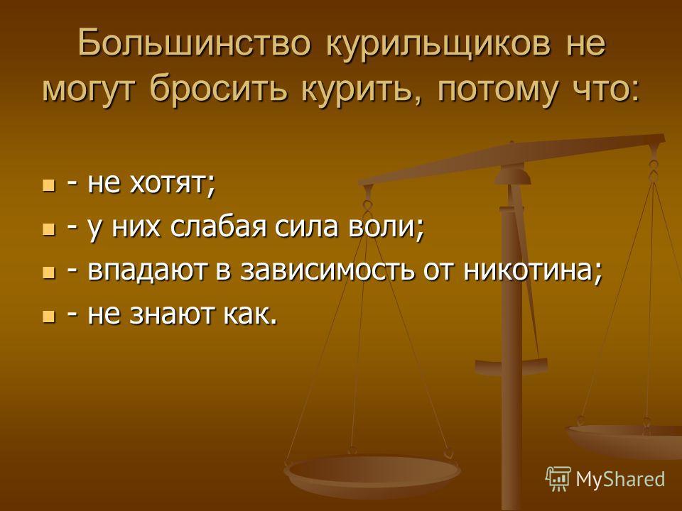 Большинство курильщиков не могут бросить курить, потому что: - не хотят; - не хотят; - у них слабая сила воли; - у них слабая сила воли; - впадают в зависимость от никотина; - впадают в зависимость от никотина; - не знают как. - не знают как.