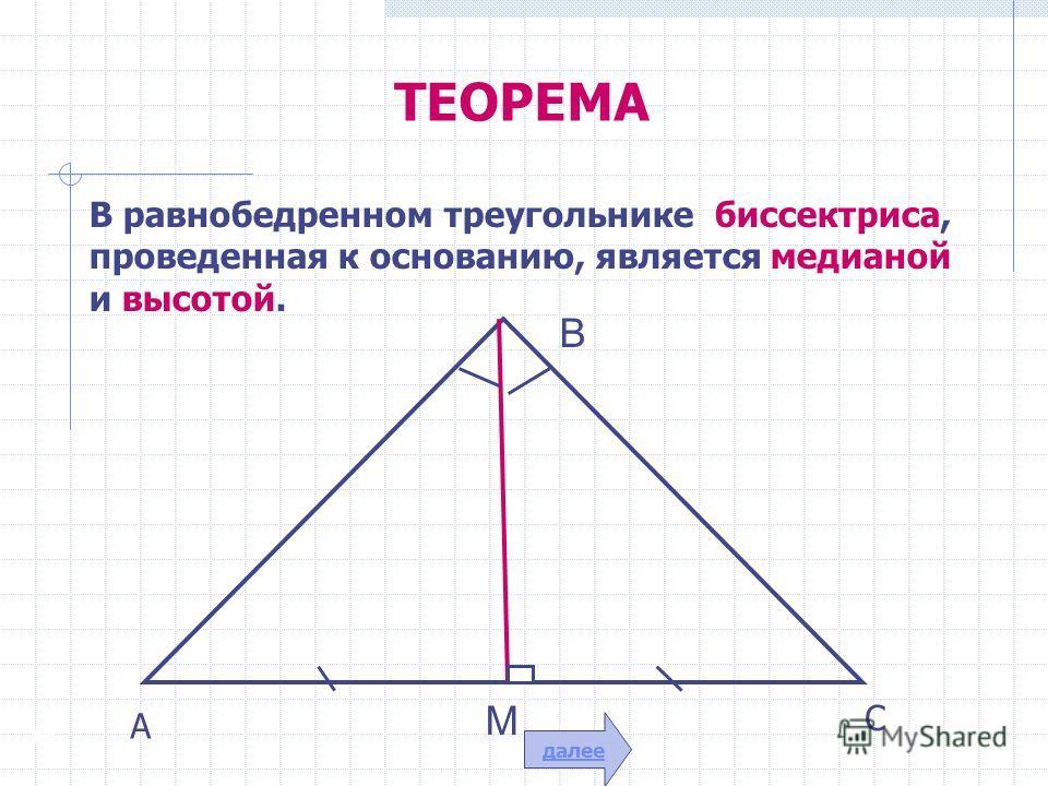 ТЕОРЕМА В равнобедренном треугольнике биссектриса, проведенная к основанию, является медианой и высотой. А В М А С далее