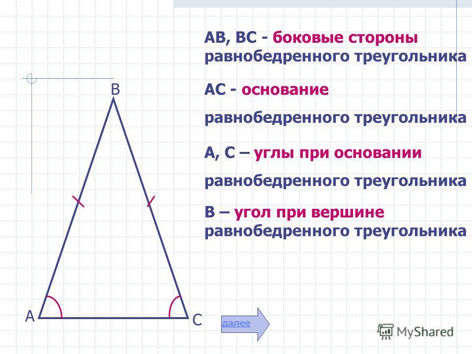 АВ, ВС - боковые стороны равнобедренного треугольника АС - основание равнобедренного треугольника А, С – углы при основании равнобедренного треугольника В – угол при вершине равнобедренного треугольника А В С далее
