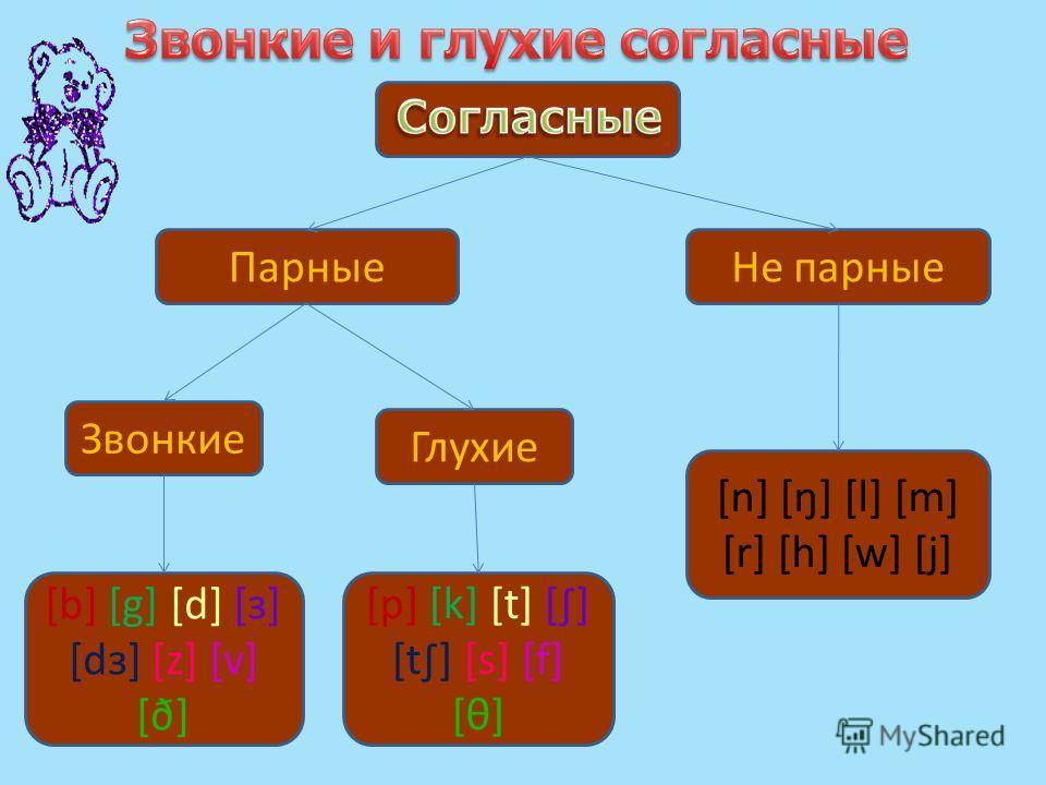 Парные Звонкие Глухие [p] [k] [t] [] [t] [s] [f] [θ] [b] [g] [d] [з] [dз] [z] [v] [ð] [n] [ŋ] [l] [m] [r] [h] [w] [j] Не парные