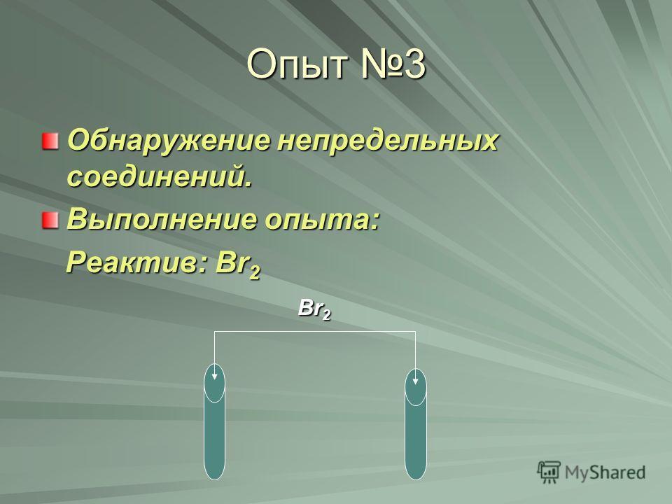 Опыт 3 Обнаружение непредельных соединений. Выполнение опыта: Реактив: Br 2 Реактив: Br 2 Br 2 Br 2