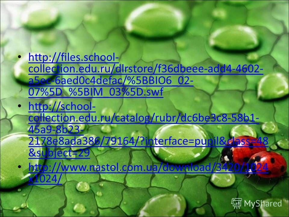 http://files.school- collection.edu.ru/dlrstore/f36dbeee-add4-4602- a5ec-6aed0c4defac/%5BBIO6_02- 07%5D_%5BIM_03%5D.swf http://files.school- collection.edu.ru/dlrstore/f36dbeee-add4-4602- a5ec-6aed0c4defac/%5BBIO6_02- 07%5D_%5BIM_03%5D.swf http://sch