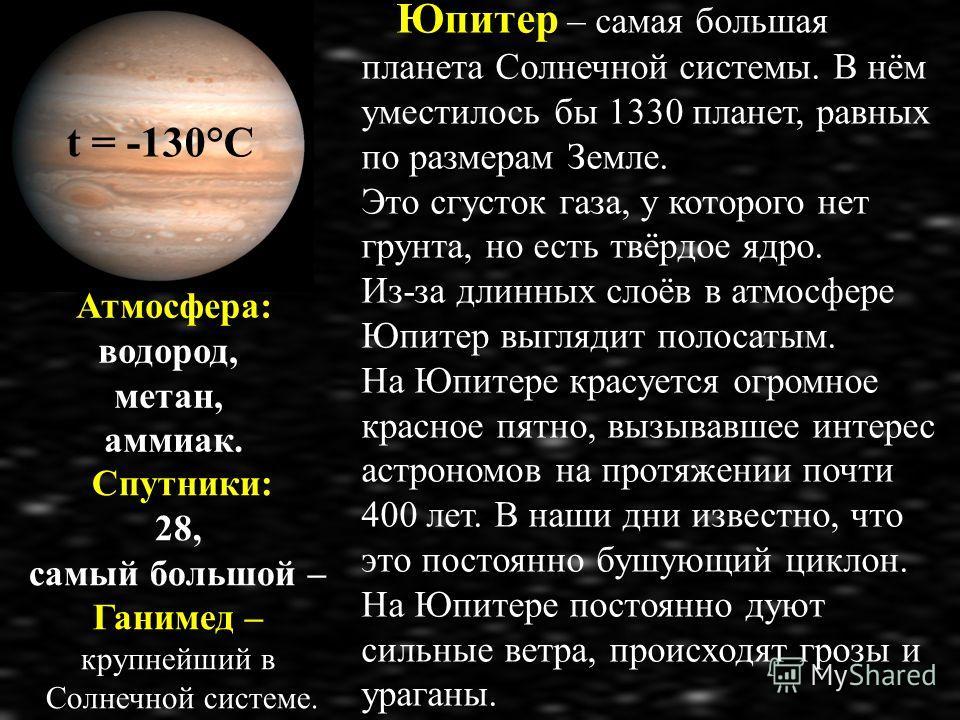Юпитер – самая большая планета Солнечной системы. В нём уместилось бы 1330 планет, равных по размерам Земле. Это сгусток газа, у которого нет грунта, но есть твёрдое ядро. Из-за длинных слоёв в атмосфере Юпитер выглядит полосатым. На Юпитере красуетс