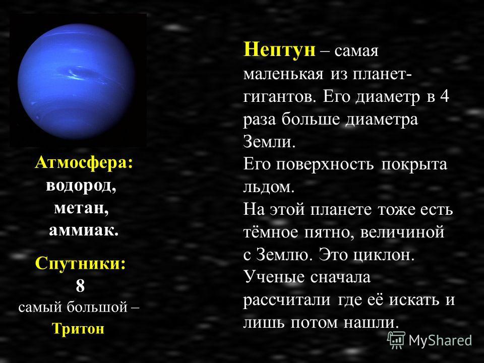 Нептун – самая маленькая из планет- гигантов. Его диаметр в 4 раза больше диаметра Земли. Его поверхность покрыта льдом. На этой планете тоже есть тёмное пятно, величиной с Землю. Это циклон. Ученые сначала рассчитали где её искать и лишь потом нашли
