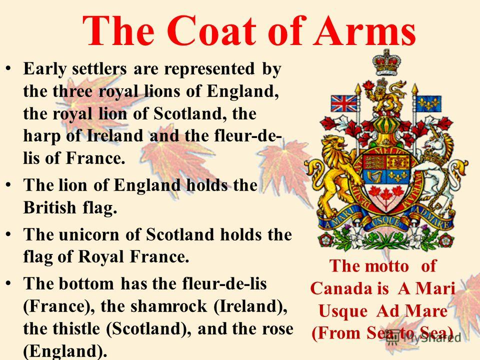 The Coat of Arms Early settlers are represented by the three royal lions of England, the royal lion of Scotland, the harp of Ireland and the fleur-de- lis of France. The lion of England holds the British flag. The unicorn of Scotland holds the flag o