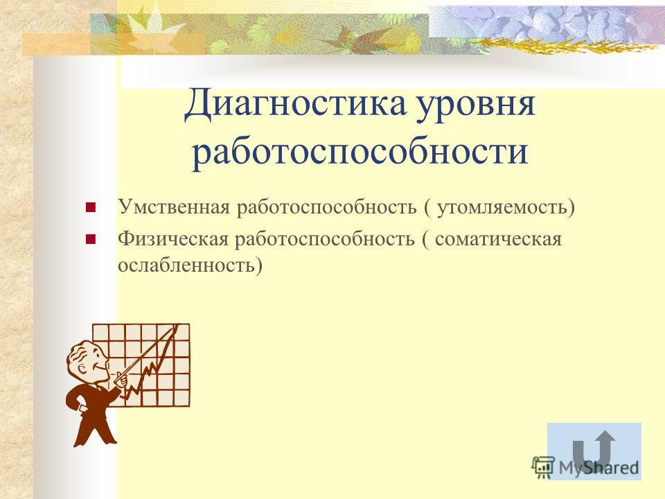 Диагностика уровня работоспособности Умственная работоспособность ( утомляемость) Физическая работоспособность ( соматическая ослабленность)