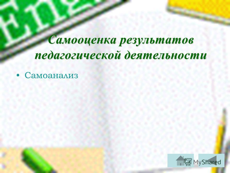 Самооценка результатов педагогической деятельности Самоанализ