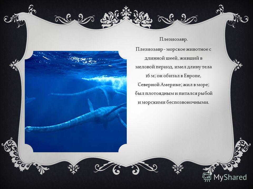 Плезиозавр. Плезиозавр - морское животное с длинной шеей, живший в меловой период, имел длину тела 16 м ; он обитал в Европе, Северной Америке ; жил в море ; был плотоядным и питался рыбой и морскими беспозвоночными.