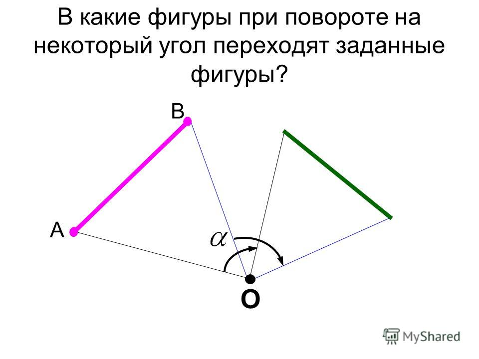 В какие фигуры при повороте на некоторый угол переходят заданные фигуры? А В О