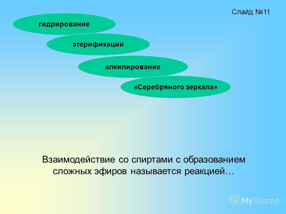 Взаимодействие со спиртами с образованием сложных эфиров называется реакцией… гидрирование этерификации алкилирование «Серебряного зеркала» Слайд 11