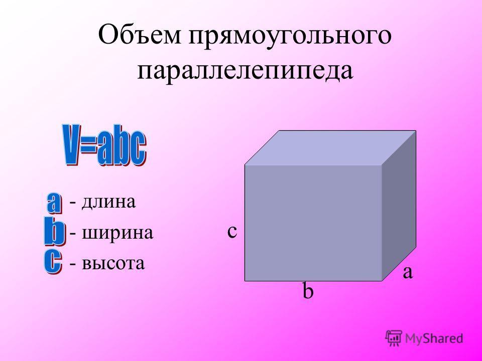 У параллелепипедов и только у них любую пару параллельных граней можно принять за основания. В зависимости от выбора оснований можно рассмотреть три высоты. A1A1 B1B1 C1C1 D1D1 A B C D h1h1 h2h2 h3h3