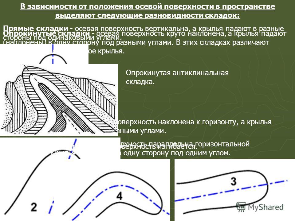 В зависимости от положения осевой поверхности в пространстве выделяют следующие разновидности складок: Прямые складки - осевая поверхность вертикальна, а крылья падают в разные стороны под одинаковыми углами. Наклонные складки - осевая поверхность на