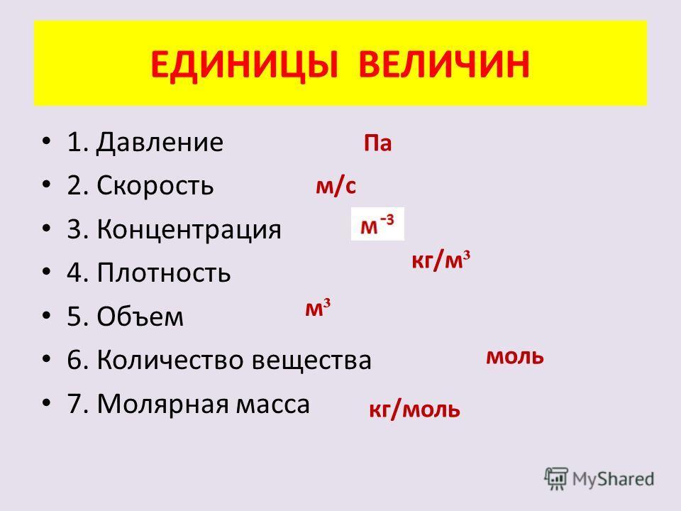 ЕДИНИЦЫ ВЕЛИЧИН 1. Давление 2. Скорость 3. Концентрация 4. Плотность 5. Объем 6. Количество вещества 7. Молярная масса Па м/с кг/м ³ м³м³ моль кг/моль