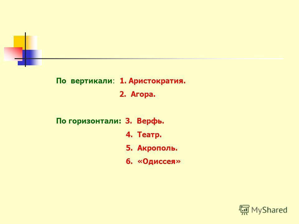 По вертикали: 1. Аристократия. 2. Агора. По горизонтали: 3. Верфь. 4. Театр. 5. Акрополь. 6. «Одиссея»