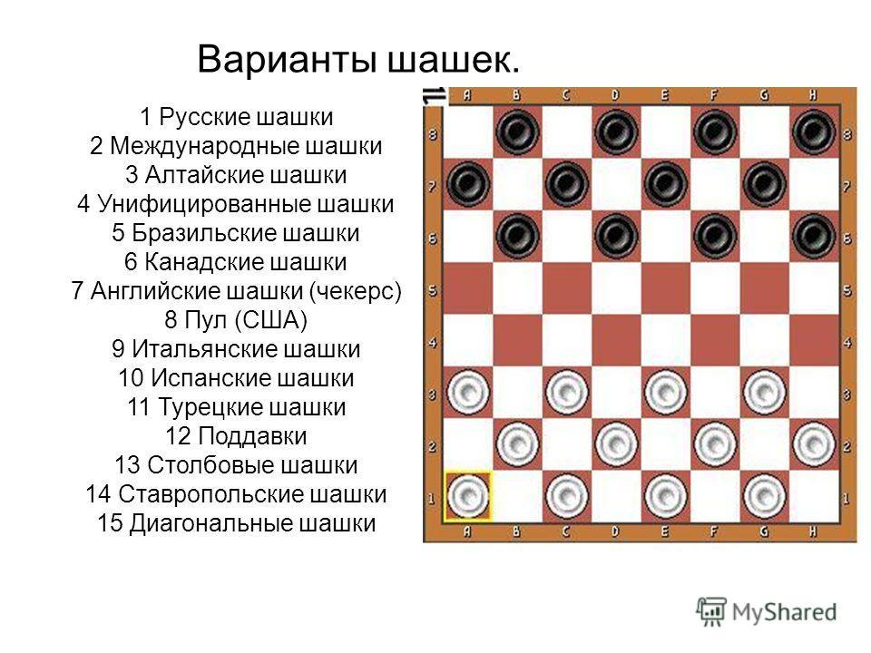 Варианты шашек. 1 Русские шашки 2 Международные шашки 3 Алтайские шашки 4 Унифицированные шашки 5 Бразильские шашки 6 Канадские шашки 7 Английские шашки (чекерс) 8 Пул (США) 9 Итальянские шашки 10 Испанские шашки 11 Турецкие шашки 12 Поддавки 13 Стол