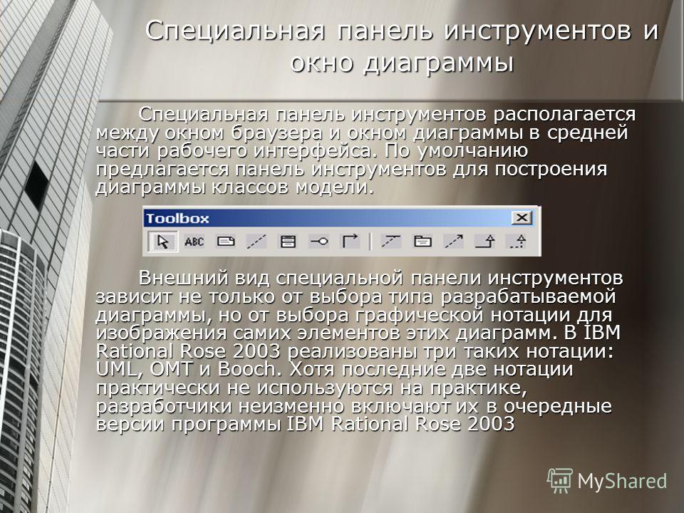 Специальная панель инструментов и окно диаграммы Специальная панель инструментов располагается между окном браузера и окном диаграммы в средней части рабочего интерфейса. По умолчанию предлагается панель инструментов для построения диаграммы классов